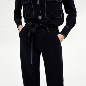 Zara Woman Contrasting Topstitching Palazzo Pants